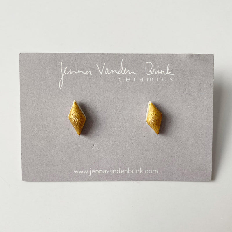 Porcelain Diamond Earrings in Matte Gold
