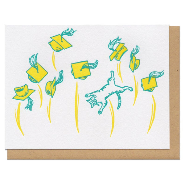 Graduation Cat Card White with green and yellow
