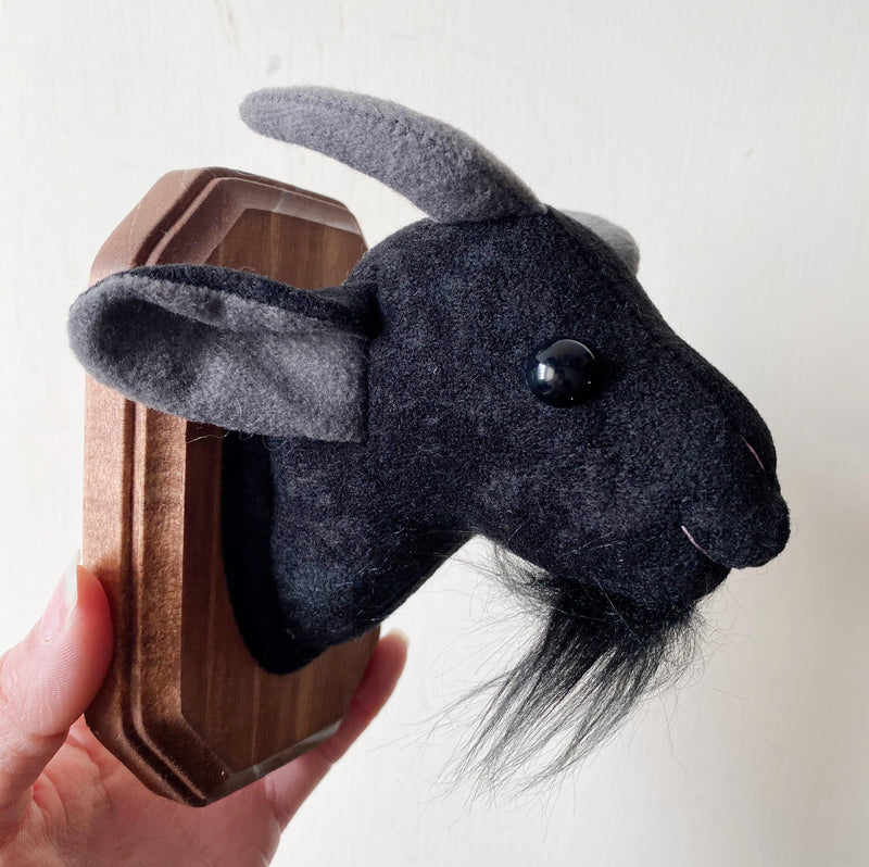 Black Goat Faux Taxidermy Wall Hanging