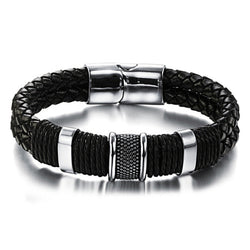 New arrival fashion men's stainless steel mix leather bracelets accessories Punk style bracelet male jewelry wholesale OPH891