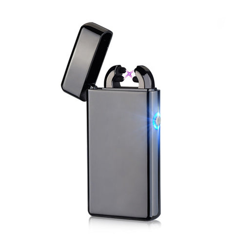 Usb Rechargeable Electric Arc Arc Lighters Personalized Cross Double Pulse Slim Lighter