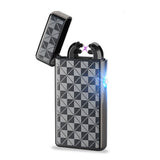 Novelty Usb Rechargeable Electric Arc Lighter Cross Double Pulse Slim Lighter No Gas