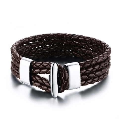 Meaeguet Black PU Leather 4 Lines Bracelet Length 20CCM Wholesale Stainless Steel Fashion bracelet men jewelry