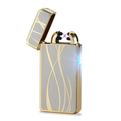 New Fashion No Gas Smokeless Ultra-Thin Metal USB Rechargeable Double Arc Electric Lighter