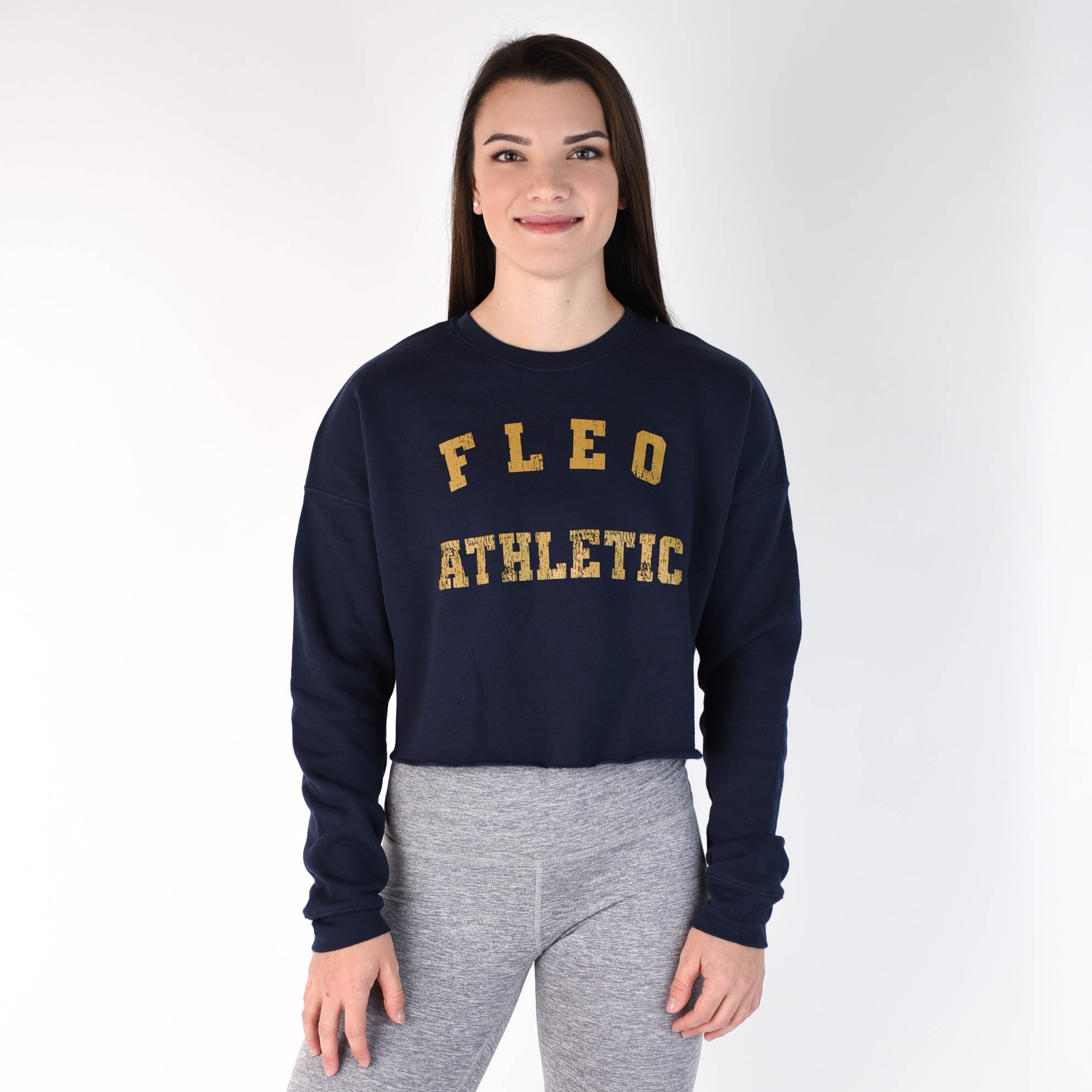 Athletic Cropped Sweatshirt - Navy