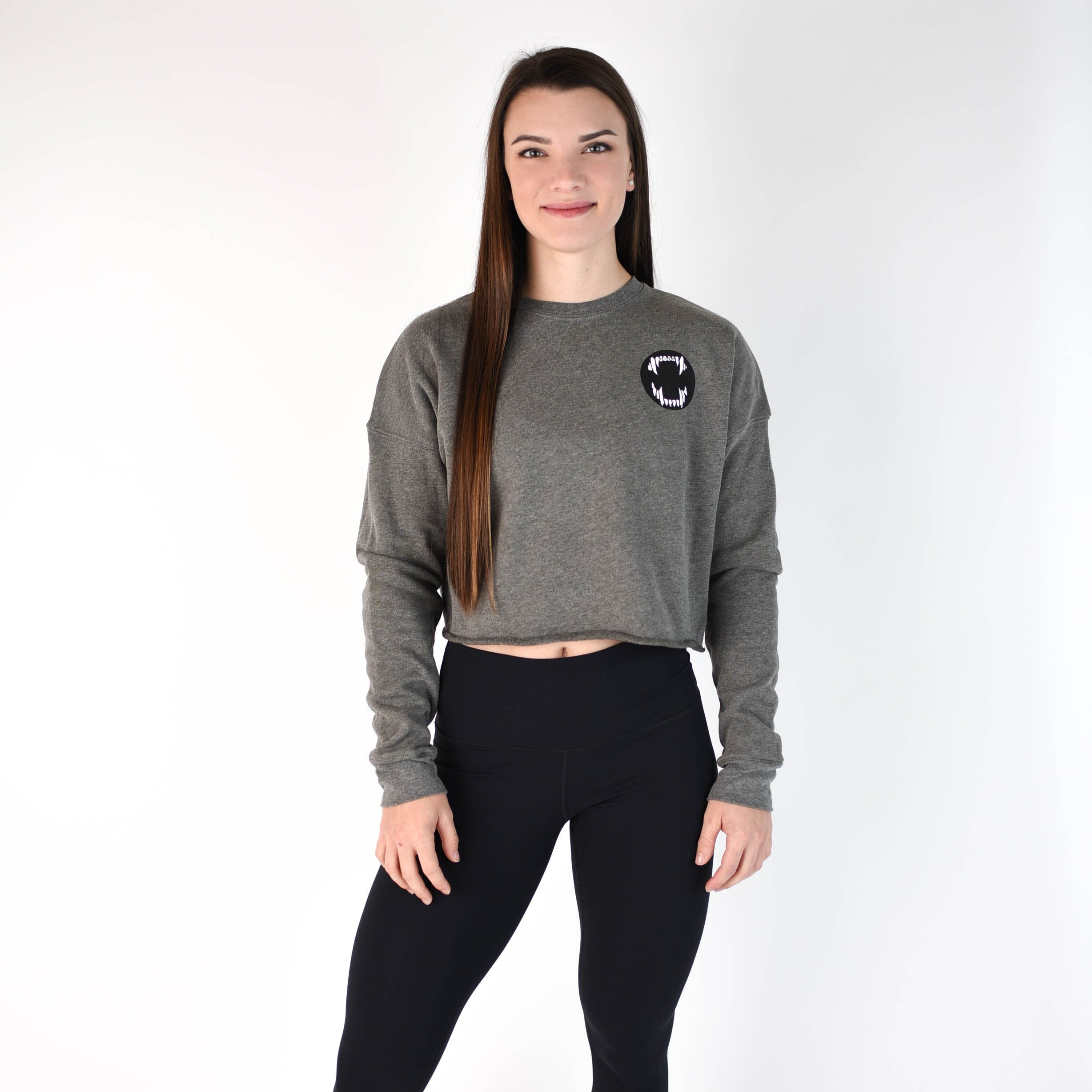 Fang Thang Cropped Sweatshirt - Heather Gray