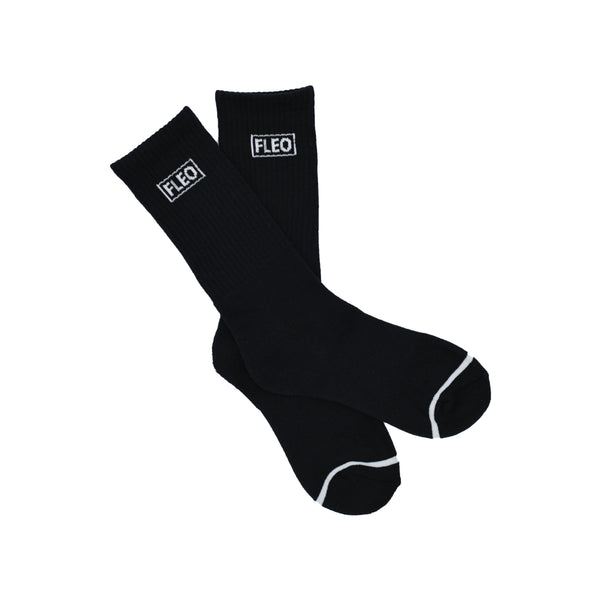 Black Crew Socks - Side FLEO