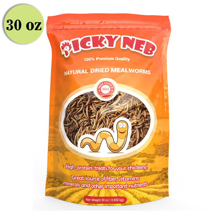 100% Non-GMO Dried Mealworms 🐛 30 oz - Picky Neb