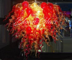 Volcanic Eruption Chihuly Style Hand Blown Glass Chandelier