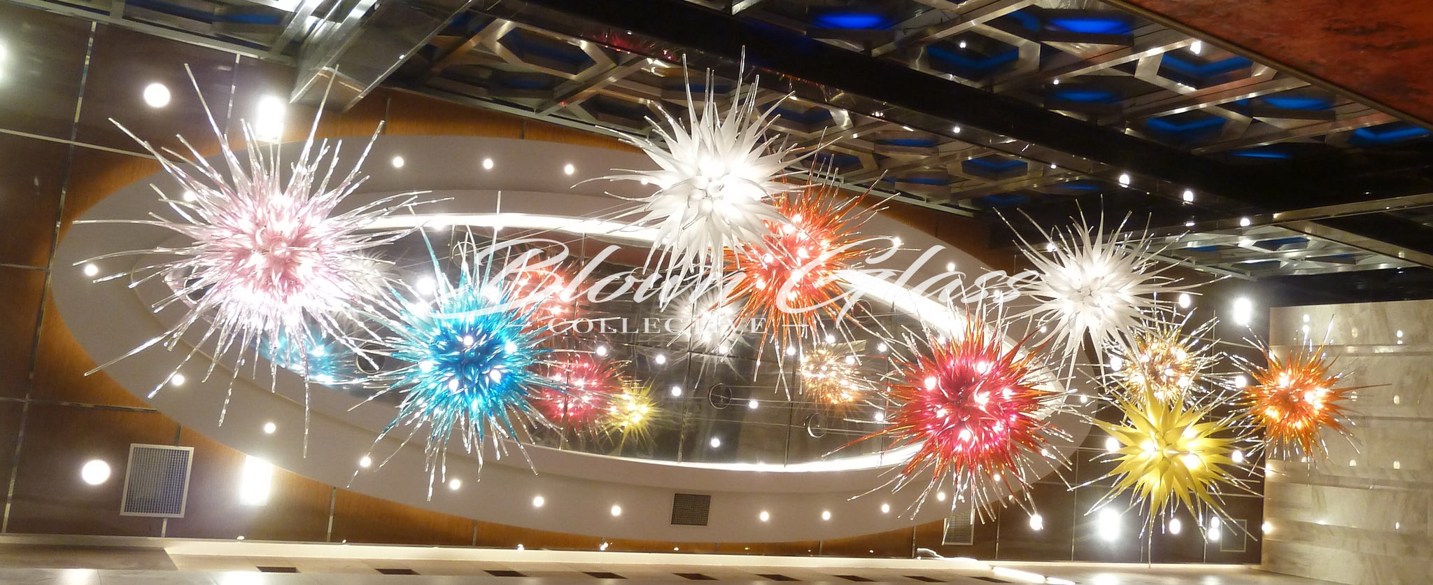 Hand Blown Glass Chandeliers for Large Scale and Commercial Spaces
