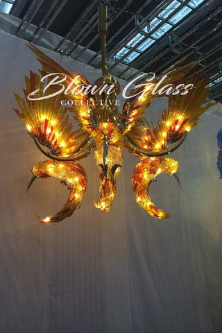 Hummingbirds in Flight Hand Blown Glass Chandelier