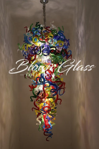 all the colors on parade hand blown glass chandelier - Blown Glass Chandelier