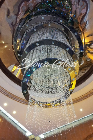 Crystal Waterfall Hand Blown Glass Chandelier