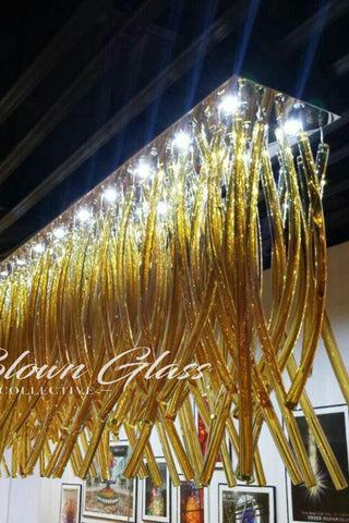 Arching Amber Mix Hand Blown Glass Chandelier