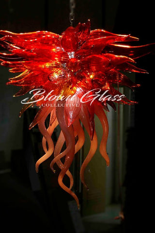 Blown glass chandelier looking for a custom or chihuly style autumn blaze hand blown glass chandelier blown glass collective mozeypictures Images