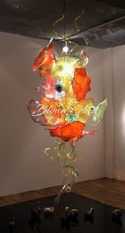 Lily Pads in Bloom Hand Blown Glass Plate Chandelier
