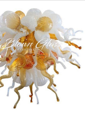 Milky Amber Burst Hand Blown Glass Chandelier - Blown Glass Collective