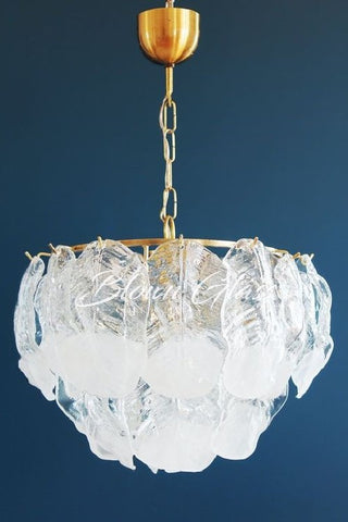 Mulberry Leaves in White Hand Blown Glass Chandelier - Blown Glass Collective