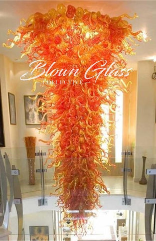 Sunset in Motion Hand Blown Glass Chandelier by Blown Glass Collective