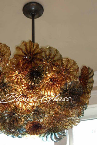 Fall Blooms Hand Blown Glass plates Chandelier