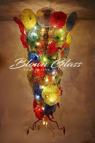 Blooming Colors Hand Blown Glass Plate Chandelier by Blown Glass Collective