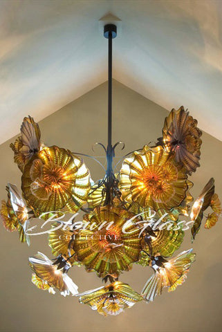 Fall Flowers Hand Blown Glass Plates Chandelier