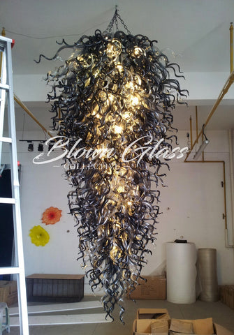 Black Velvet Hand Blown Glass Chandelier by Blown Glass Collective
