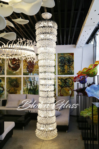 Cascading Crystal Hand Blown Glass Chandelier by Blown Glass Collective
