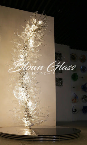 Crustal Blooming Hand Blown Glass Floor Lamp by blown Glass Collective