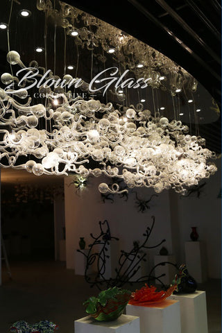 Crystal Tadpoles Hand Blown Glass Chandelier - Blown Glass Collective