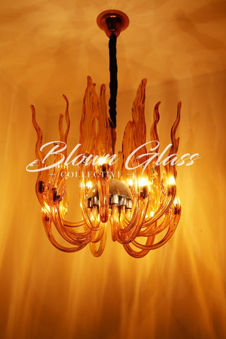 Flames Rising Hand Blown Modern Glass Chandelier by Blown Glass Collective