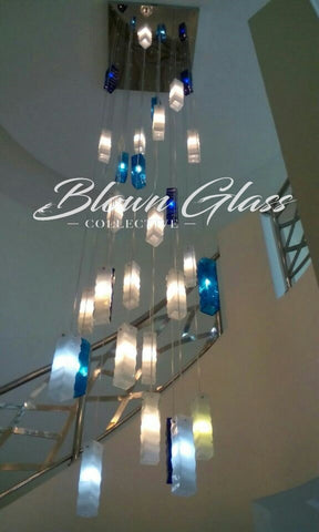 Blown Glass Paper Lanterns Hand Blown Glass Chandelier - Blown Glass Collective