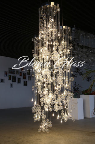 Crystal Cascading Hand Blown Glass Chandelier by Blown Glass Collective