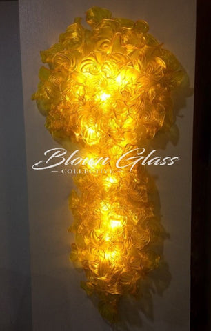Pansies in Yellow Wall Sconce Hand Blown Glass Chandelier - Blown Glass Collective