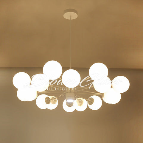 Dining Room Chandeliers - Retro Revival (white) - Blown Glass Collective