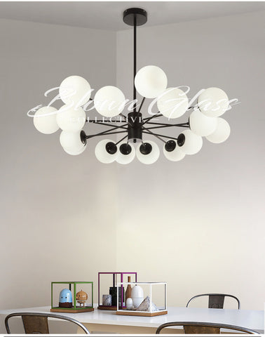 Dining Room Chandeliers - Retro Revival (Black) - Blown Glass Collective