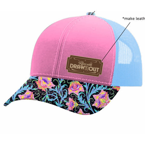 Pink Floral Leather Patch #TeamDiO Hat (3720774811700)
