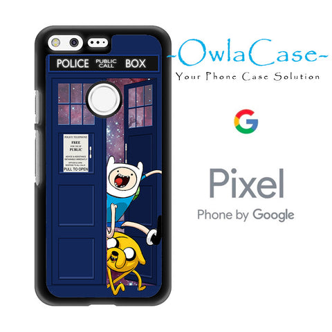 Adventure Time Jake Finn In Dr Who Tardis Call Box Galaxy Nebula Google Pixel Case