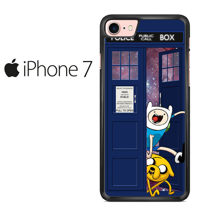 Adventure Time Jake Finn In Dr Who Tardis Call Box Galaxy Nebula Iphone 7 Case