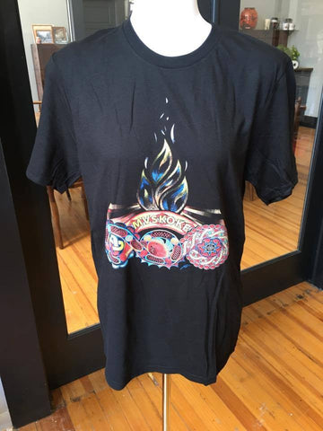 """MVSKOKE  Living Fire design T-Shirt"