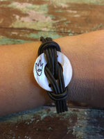 Leather Bracelets w/Shell Carving