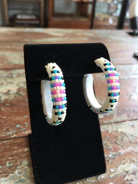 Beaded Hoop Earrings - Medium