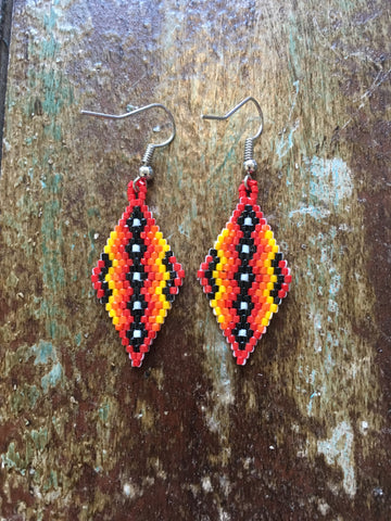 Beaded Diamond Shape Earrings