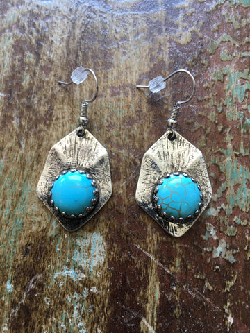 Silver Tone Earrings with simulated Turquoise