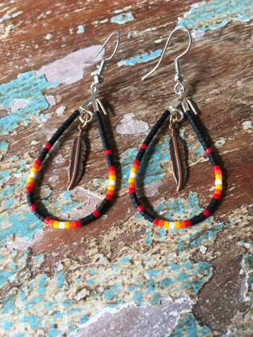 Beaded Dangle Earrings w/Feather