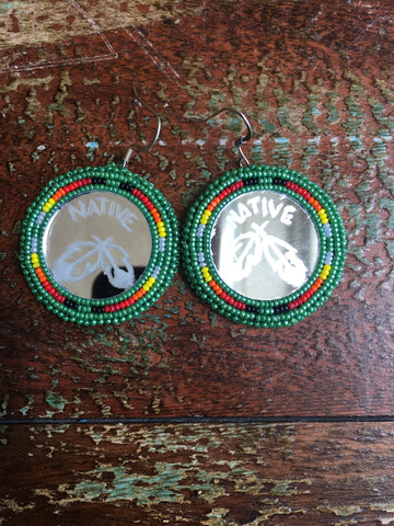 "Beaded Mirror Earrings ""Native w/Feather"""