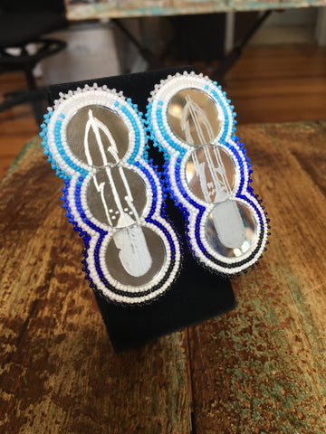 Beaded Mirror Earrings