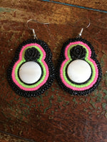 Beaded Round Earrings - Large