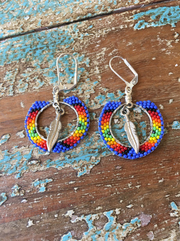 Beaded Earrings w/Feather Embellishment