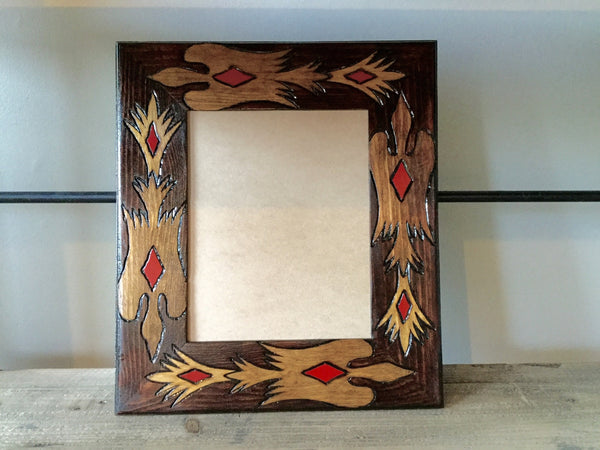 "Wood picture frame - 8"" x 10"" Water bird design"